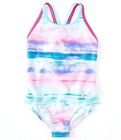 Under Armour Little Girls 4-6X UA Wave Striped One-Piece Swimsuit
