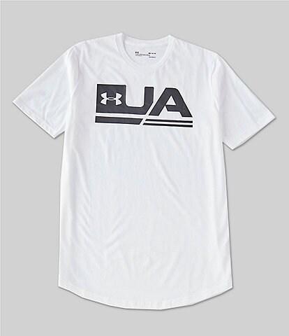 Under Armour HeatGear® Charged Cotton® Sportstyle Loose Logo Graphic Short-Sleeve Drop Hem T-Shirt