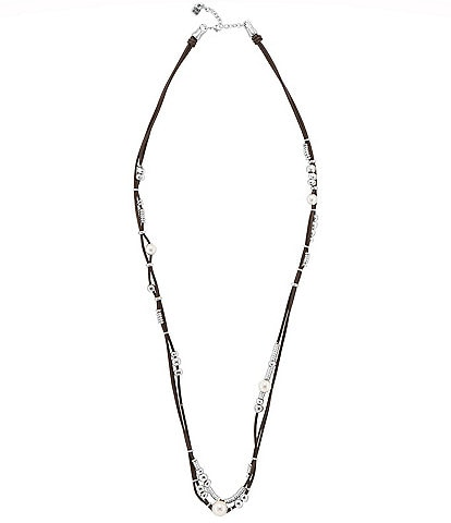 UNOde50 Leather Pearl Silver-Plated Beads Necklace