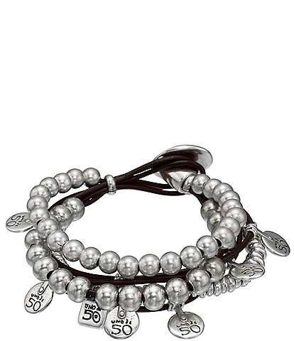 UNOde50 What A Mess Silver & Leather Bracelet