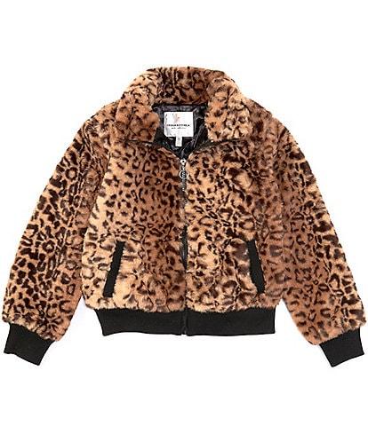 Urban Republic Big Girls 7-16 Long-Sleeve Animal-Printed Faux-Fur Bomber Jacket