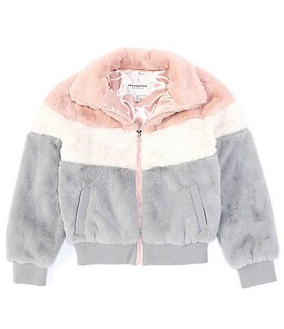 Urban Republic Big Girls 7-16 Long-Sleeve Color Block Faux-Fur Bomber Jacket