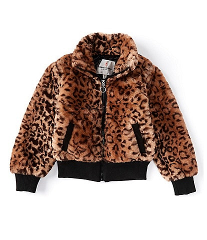 Urban Republic Little Girls 2T-6X Long-Sleeve Jaguar-Printed Faux-Fur Bomber Jacket
