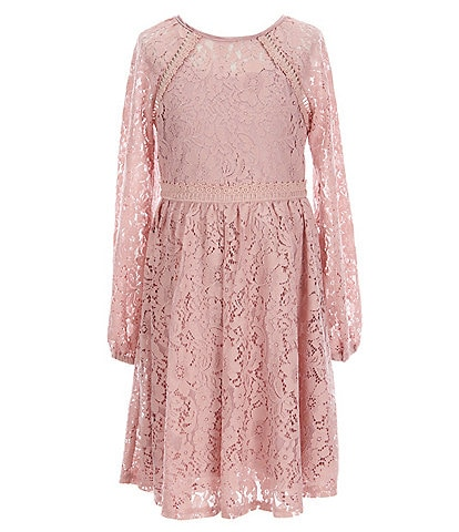 Us Angels Big Girls 7-16 Short-Sleeve Lace With Crochet Woven Fit-And-Flare Dress