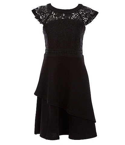 Us Angels Big Girls 7-16 Illusion Lace/Textured A-Line Dress