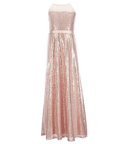 Us Angels Big Girls 7-16 Illusion Sequin Long Dress