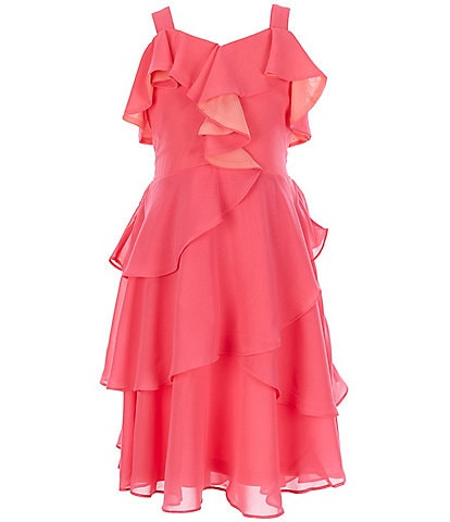Us Angels Big Girls 7-16 Ruffle-Trim Chiffon Hi-Low Dress