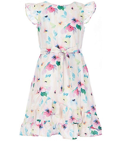 Us Angels Blush by Us Angels Big Girls 7-16 Flutter-Sleeve Floral/Stripe Fit-And-Flare Dress