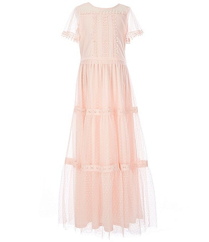 Us Angels Blush by Us Angels Big Girls 7-16 Illusion Swiss-Dot Mesh Maxi Dress