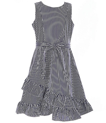 Us Angels Blush by Us Angels Big Girls 7-16 Ruffled Stripe Poplin Fit-And-Flare Dress
