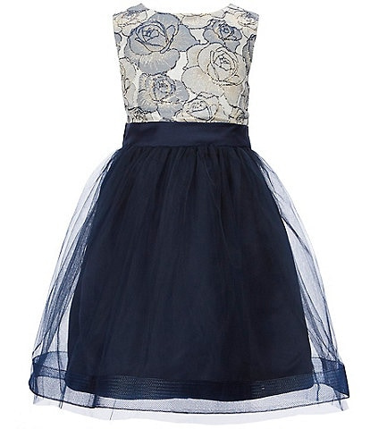Us Angels Little Girls 2T-6X Embroidered-Brocade Mesh Dress