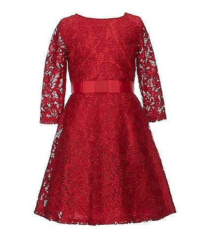 Us Angels Little Girls 2T-6X Illusion-Sleeve Lace A-Line Dress