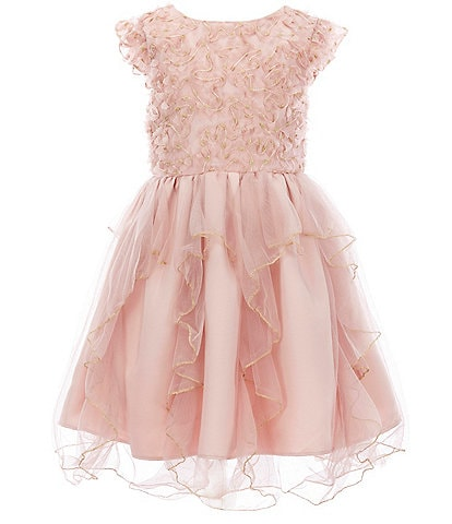 Us Angels Little Girls 2T-6X Metallic Soutache/Cascading Tulle Fit-And-Flare Dress