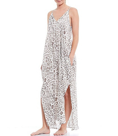VAN WINKLE & CO. Animal Printed Satin Maxi Chemise
