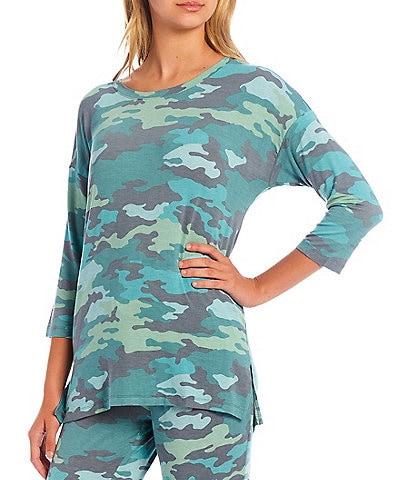 VAN WINKLE & CO. Camouflaged Print 3/4 Sleeve Coordinating Jersey Knit Sleep Top