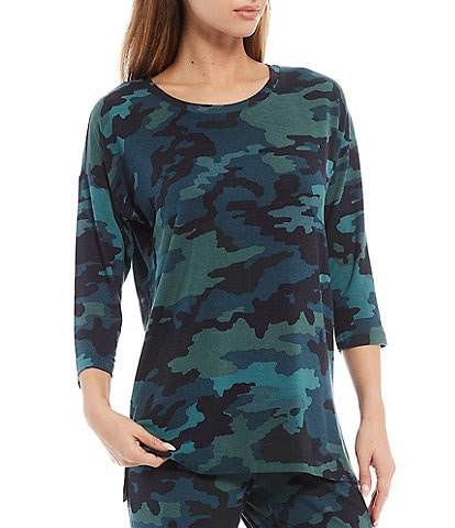 VAN WINKLE & CO. Camouflaged Print Knit Long-Sleeve Sleep Top