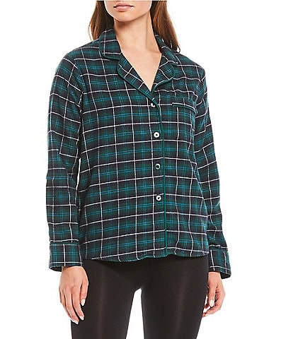 VAN WINKLE & CO. Chloe Yarn Dye Plaid Portuguese Flannel Sleep Top