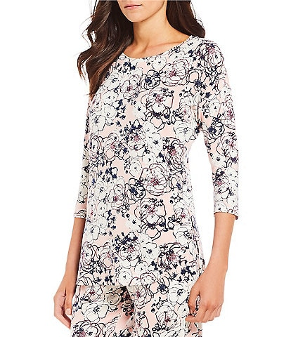 VAN WINKLE & CO. Floral-Print Jersey Sleep Top