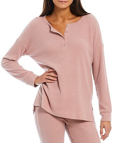 VAN WINKLE & CO. Solid Brushed Waffle Knit Henley Neck Long Sleeve Coordinating Sleep Top
