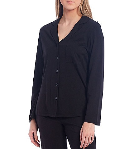VAN WINKLE & CO. Solid Jersey Knit Button-Front Sleep Top