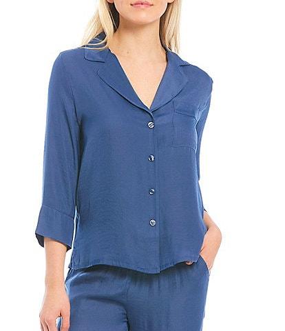 VAN WINKLE & CO. Solid Satin Pajama Top
