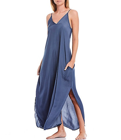 VAN WINKLE & CO. Solid Woven Maxi Chemise