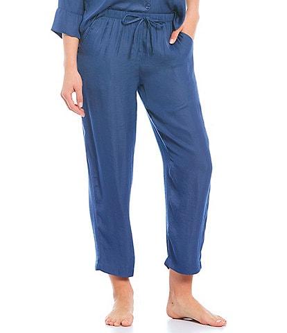 VAN WINKLE & CO. Solid Woven Coordinating Sleep Pants