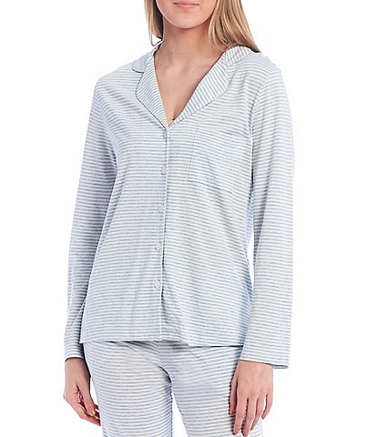VAN WINKLE & CO. Yarn-Dyed Striped Jersey Knit Button-Front Sleep Top