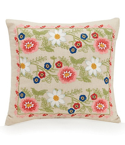 Vera Bradley Coral Floral Embroidered Linen Square Pillow