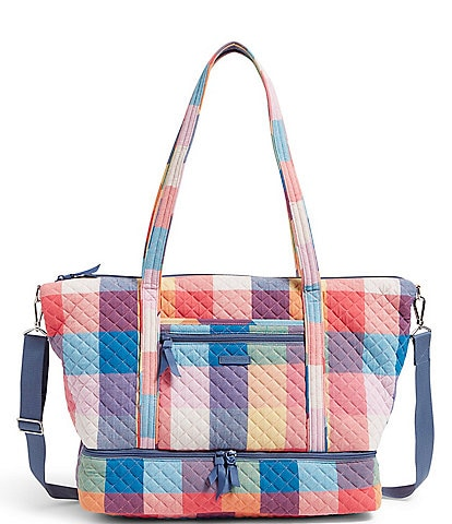 Vera Bradley Deluxe Quilted Tropics Plaid Travel Tote Bag