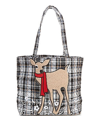 Vera Bradley Iconic Cozy Plaid Neutral Vera Tote Bag