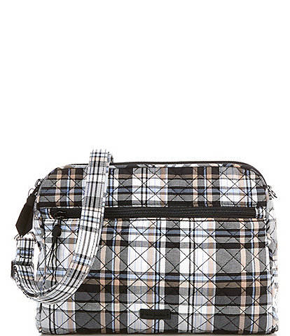 Vera Bradley Iconic Triple Compartment Cozy Plaid Neutral Crossbody Bag