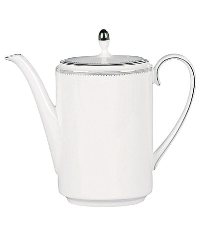 Vera Wang by Wedgwood Grosgrain Striped & Dotted Platinum Bone China Coffeepot