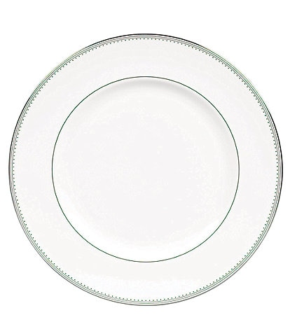 Vera Wang by Wedgwood Grosgrain Striped & Dotted Platinum Bone China Dinner Plate