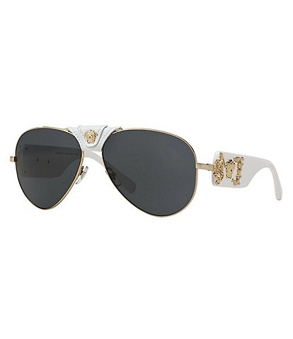 Versace Leather Logo Aviator Sunglasses