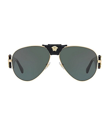 Versace Leather Logo Tortoise Aviator Sunglasses