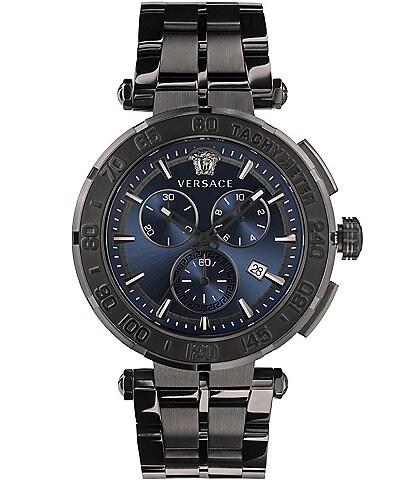 Versace Men's Greca Dark Grey Chronograph Watch