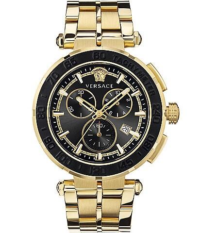 Versace Men's Greca Gold Chronograph Watch