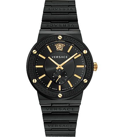Versace Men's Greca Logo Black IP Link Watch