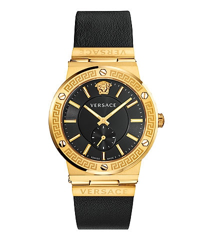 Versace Men's Greca Logo Black Leather Watch
