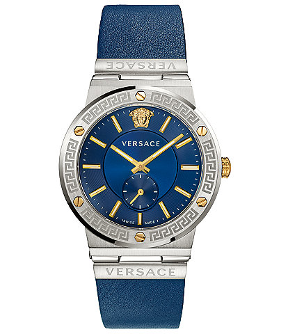 Versace Men's Greca Logo Blue Leather Watch