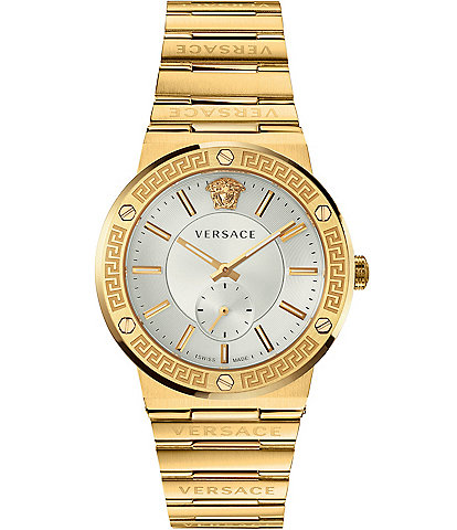 Versace Men's Greca Logo Gold Link Watch