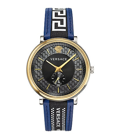Versace Men's V-Circle Greca Blue Leather Strap Watch