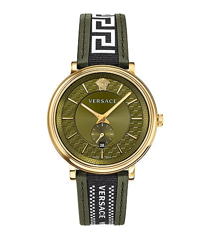 Versace Men's V-Circle Greca Green Leather Strap Watch