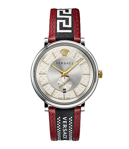 Versace Men's V-Circle Greca Red Leather Strap Watch