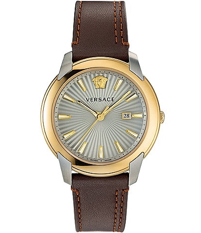 Versace Men's V-Urban Brown Leather Strap Watch