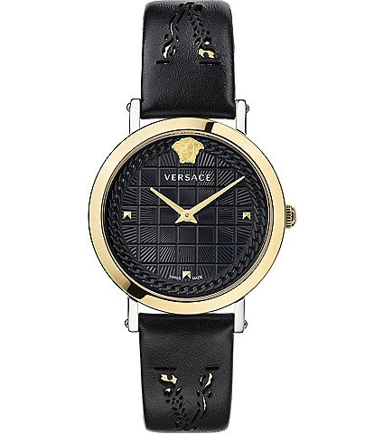 Versace Women's Coin Icon Black Leather Watch