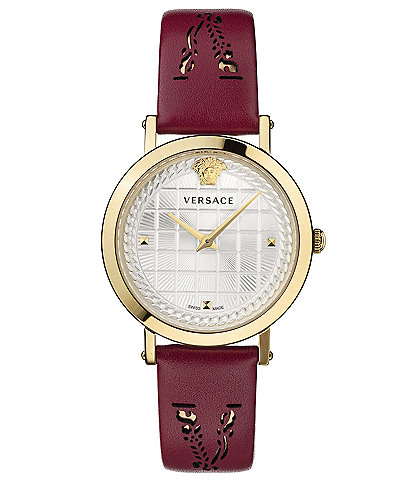 Versace Women's Coin Icon Red Leather Watch