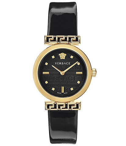 Versace Women's Greca Detailed Patent Black Leather Watch