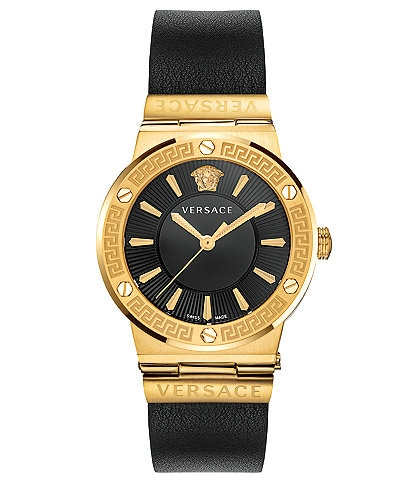 Versace Women's Greca Logo Black Leather Watch